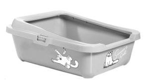 Bac à litière chat gris