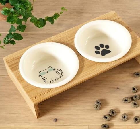 Double bol gamelles alimentation chat et chaton bois et céramique croquettes et eau design top6