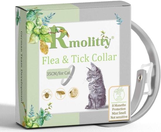 Collier antipuce pour chat aux huiles essentielles de chez RMOLITTY, anti tique et traitement des puces, protection 8 mois de votre petit chat animal
