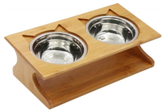 Gamelle pour chat bois naturel et acier inoxydable support incliné bol céramique, pour manger lentement surélevé chaton top6