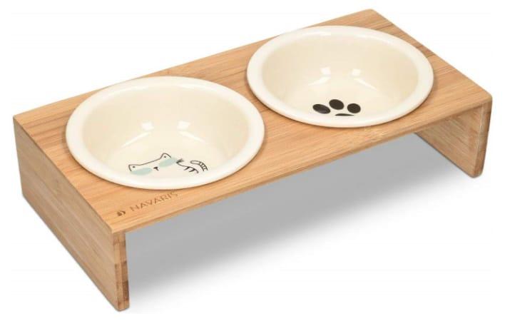 Gamelle pour chat céramique double avec support bois design bambou surélevé, croquettes chaton manger lentement top6