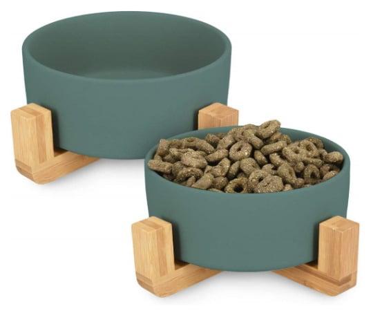 Gamelle pour chat design surélevée en céramique ou inox, lot de 2 bols eau et manger croquettes lentement support bambou top6