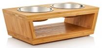 Gamelle chat surélevé inox et bois bambou bol double eau et croquette qui ne se renverse pas car surélevé et stable pour petit animal top6
