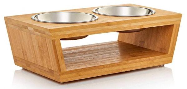 Gamelle pour chat surélevé double eau et croquette surélevé inox et bambou, stable qui ne se renverse pas, petit animal top6