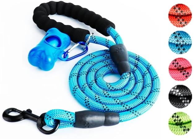 Laisse pour chien corde solide, idéal si chien tire, réfléchissant bleu, rose, noir, rouge, vert, et violet, sécurité animal de compagnie tout taille top5