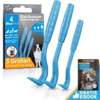 Lot de tire tique plastique chiot chien de couleur bleu, avec livre ebook offert, pour éviter maladie de Lyme animal