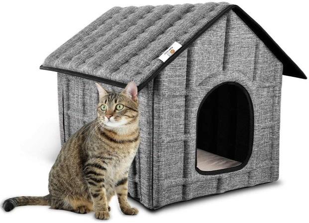 Niche à chat d'extérieur facile à laver et pliable, maison cabane avec coussin doux et chaud PUPPY KITTY top5