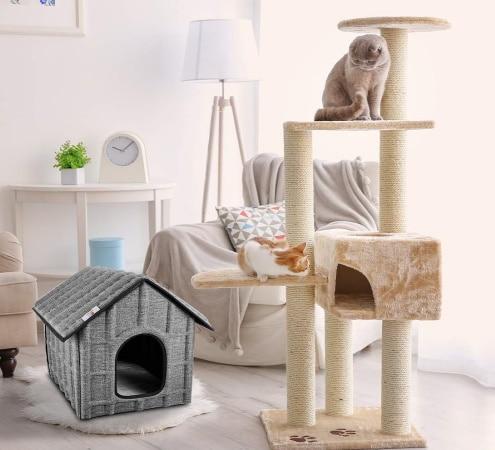 Niche pour chat intérieur extérieur en forme de maison ou maisonnette isolée et pliable top5