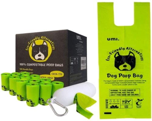 Sac à caca chien avec poignées, facile d'utilisation et compostable, pour déjections canines ou propreté des chiots, non parfumé et étanche, à base végétal