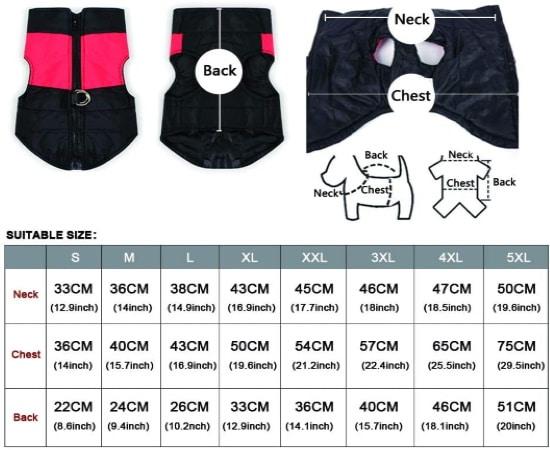 Veste chien petite taille, mesures cou, poitrine et dos, de S M L XL XXL 3XL 4XL 5XL avec différentes couleurs disponibles pour chiot ou animal promenade